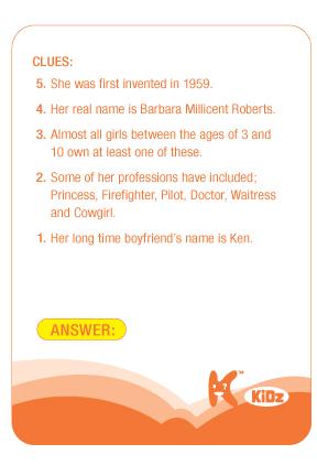 Kwizniac Kids sample question